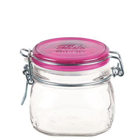 Bormioli Rocco 72492 Befőttes üveg 500 ml pink tetővel