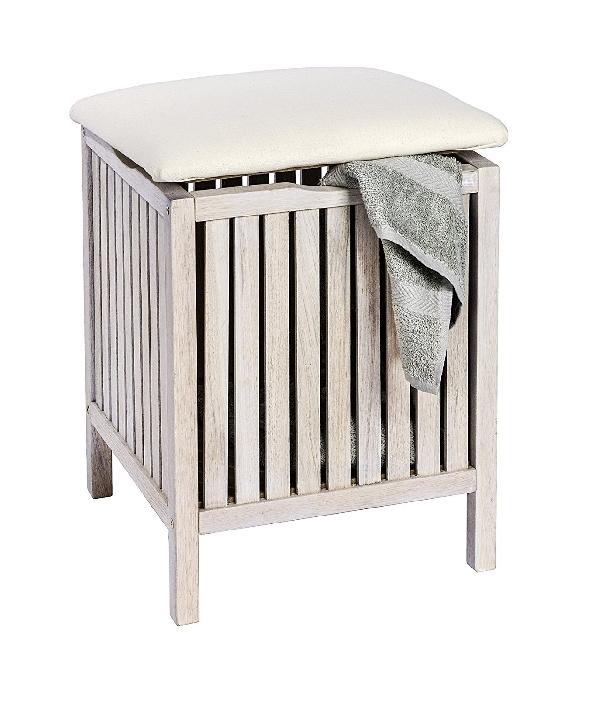 Wenko 147849 Norway fürdőszobai ülőke, szennyestartó fehér