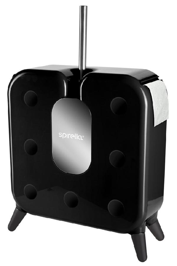 Spirella 10.17830 Cube WC-kefe és papírtartó, fekete