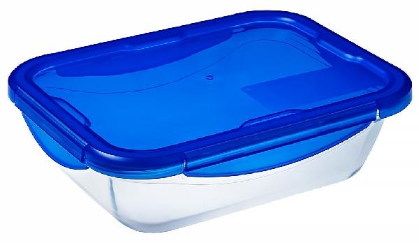 Pyrex 27507 Cook-Go üvegtál + műanyag tető 30 X 23 cm