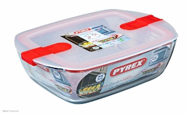 Pyrex 27502 Cook & Heat üvegtál+műanyag tető 23x15 cm